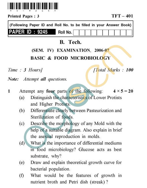 UPTU: B.Tech Question Papers - TFT-401 - Basic & Food Microbiology
