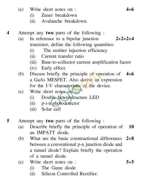 UPTU B.Tech Question Papers -TEC-403-Semiconductor Materials and Devices