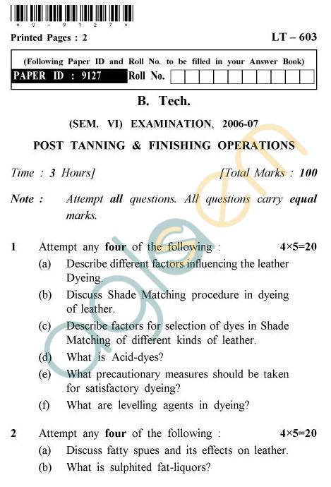 UPTU B.Tech Question Papers -LT-603 - Post Tanning & Finishing Operations