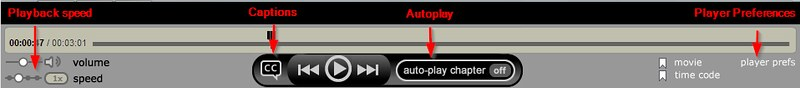 Video Player controls let you adjust playback speed, captions, autoplay, and media player preference.