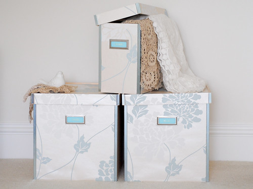 Wallpapered storage boxes
