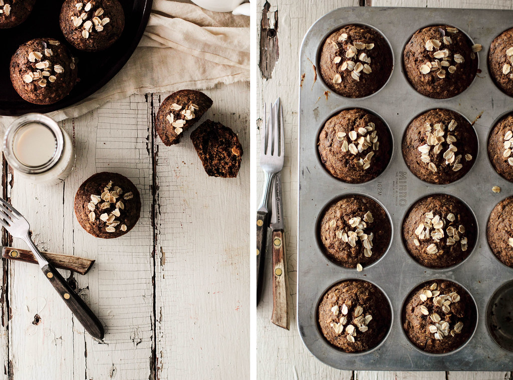 Chocolate Oatmeal Flaxseed Muffins