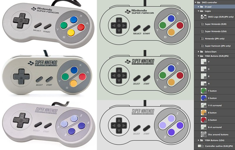 Super Nintendo controllers in Photoshop