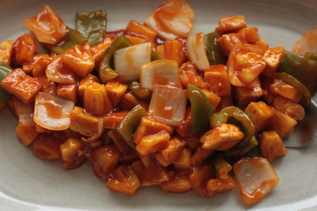 sweet and sour tofu by rooted vegan