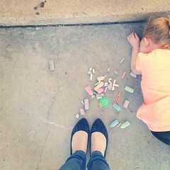 #whereistand watching my little girl look for bugs, surrounded by chalk.