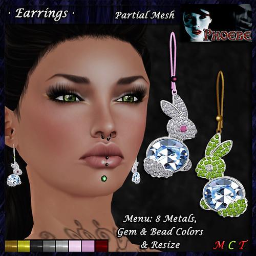 *P* Rabbit Earrings ~8 Metals-9 Gems~