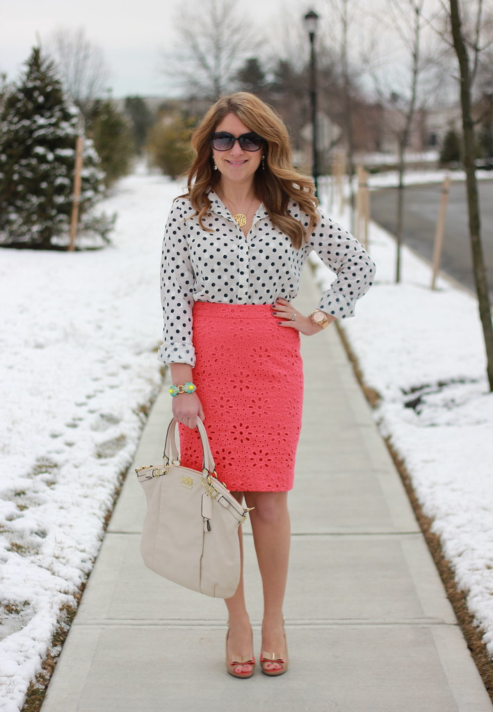 J. Crew Eyelet Pencil Skirt & Polka Dots work outfit idea