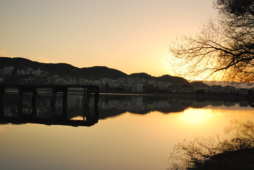 sunset lake mountains reflections landscape pier albania photostream tirana