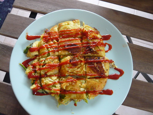 Vegan Korean Mung Bean Scallion Pancakes with sriracha sauce