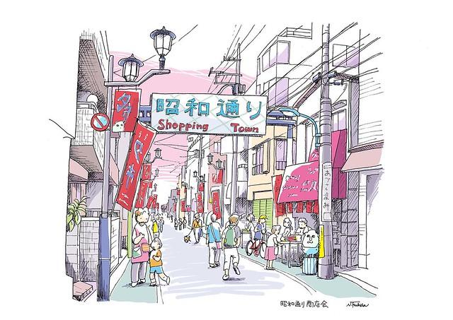 夕市が始まる…昭和通り商店会 Showa Street shopping mall