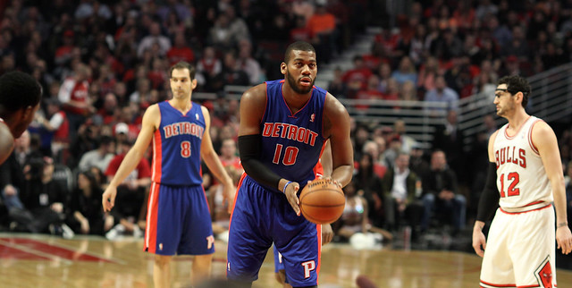 Detroit Piston Greg Monroe at the freethrow line