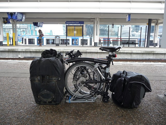 Brompton ready for a train journey