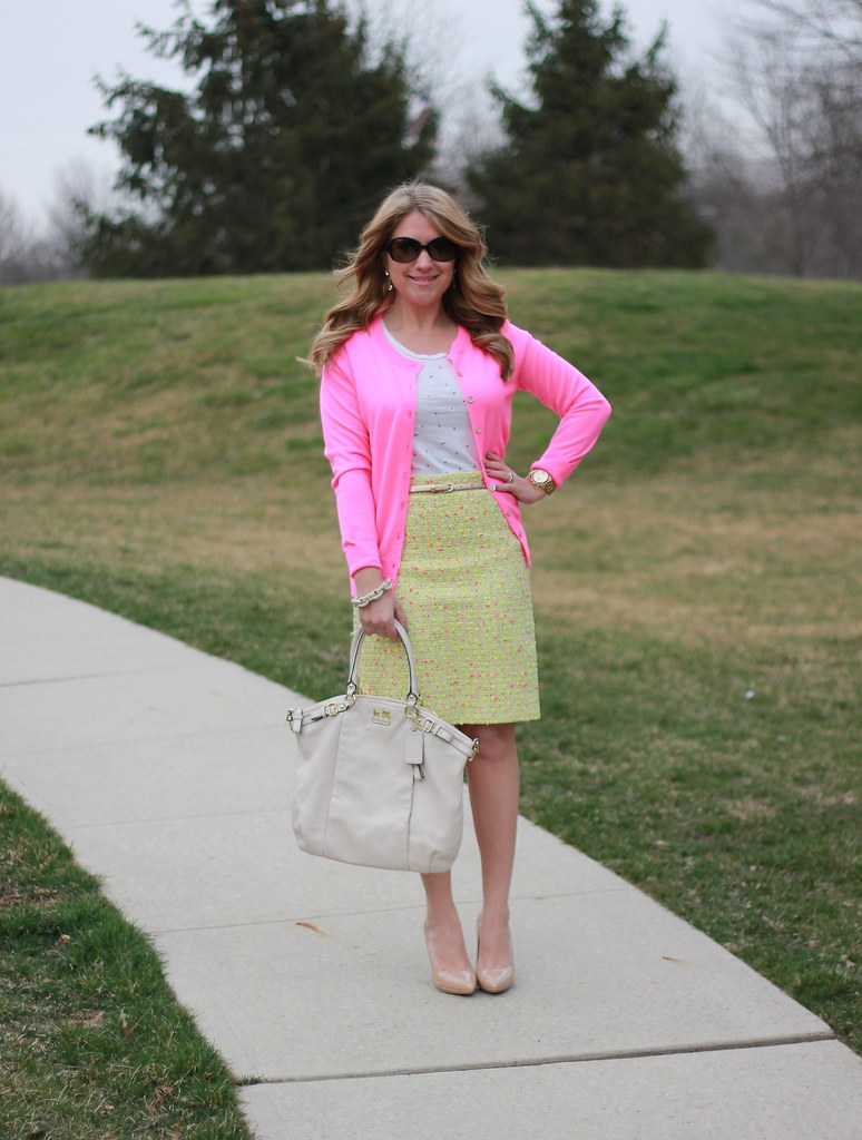 Yellow Tweed Pencil Skirt and Pink Cardigan outfit