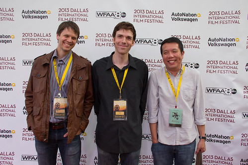 2013 - Day 3 - Red Carpet, April 6: Richard Jones (Talent), HutcH (Cinematographer) and Yen Tan (Director/Co-Writer) of PIT STOP on the red carpet for The Dallas International Film Festival 2013 at The Angelika! Photo by Lindsay Jones