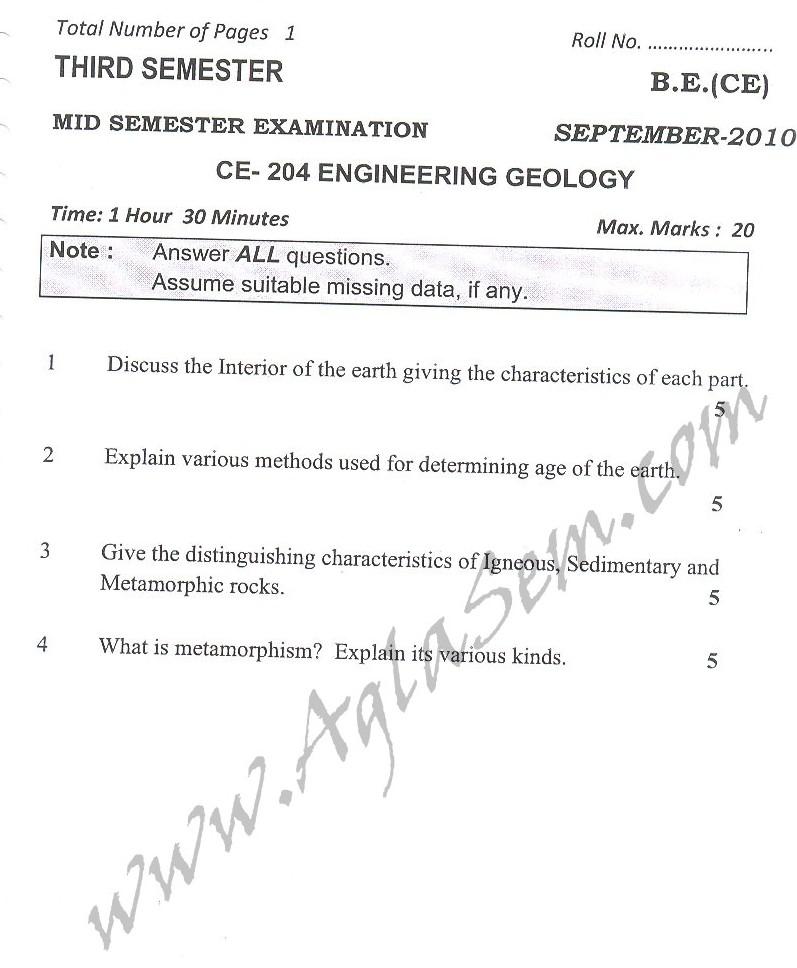 DTU Question Papers 2010 – 3 Semester - Mid Sem - CE-204
