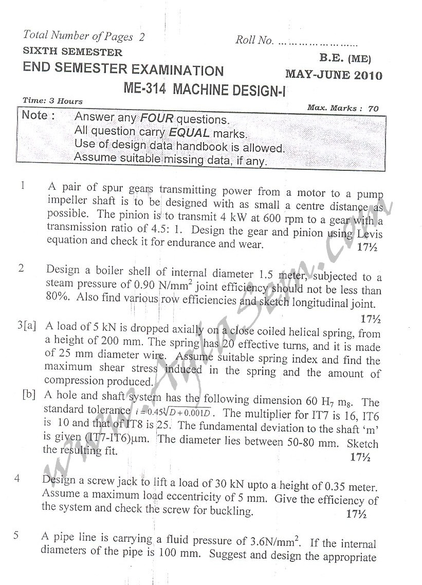 DTU Question Papers 2010 – 6 Semester - End Sem - ME-314