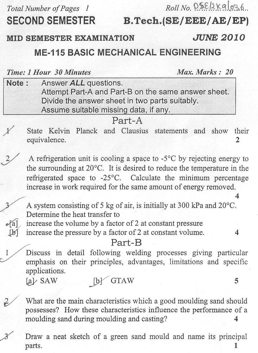DTU Question Papers 2010 – 2 Semester - Mid Sem - ME-115