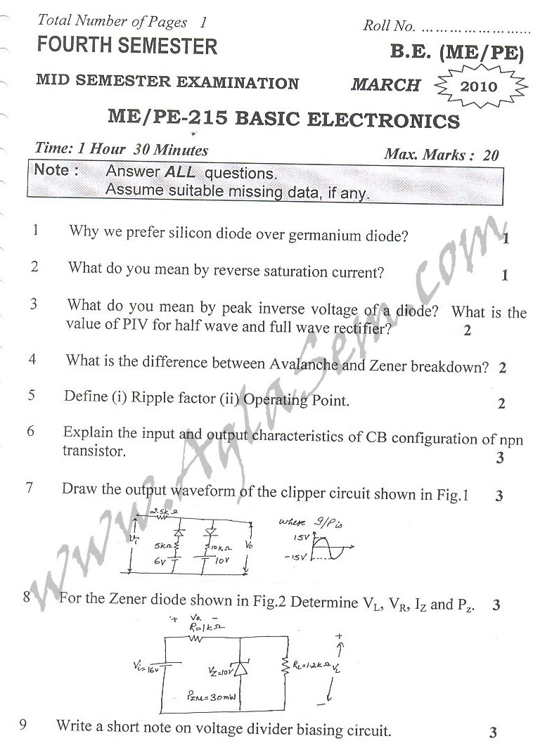 DTU Question Papers 2010 – 4 Semester - Mid Sem - ME-215