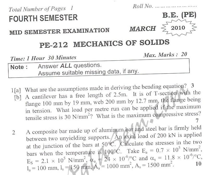 DTU Question Papers 2010 – 4 Semester - Mid Sem - PE-212