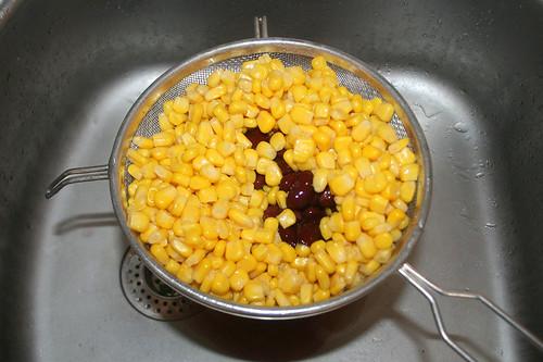 21 - Mais & Bohnen abtropfen lassen / Drain beans & corn