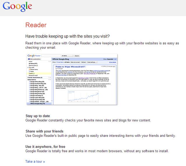 Google Reader promo