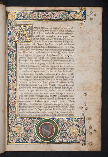 Illuminated border and coat of arms in Suetonius Tranquillus, Gaius: Vitae XII Caesarum
