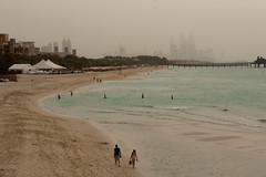 Dubai Jumeirah Beach durign a sandstorm