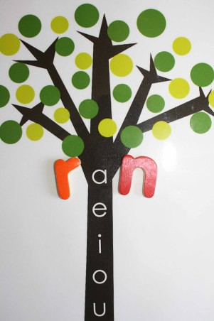 Montessori Vowel Tree (Photo from Montessori MOMents)