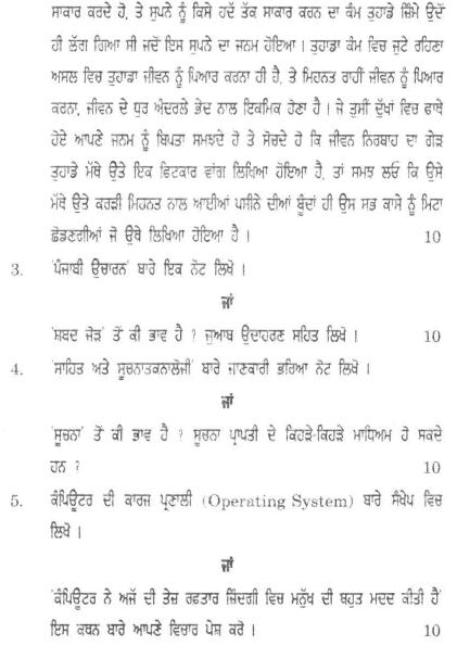 DU SOL B.Com. (Hons.) Programme Question Paper - Punjabi (A) - Paper XV