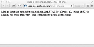 Geeksphone Phones database connection error