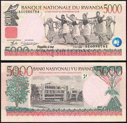 5000 Frankov Rwanda 1998, Pick 28