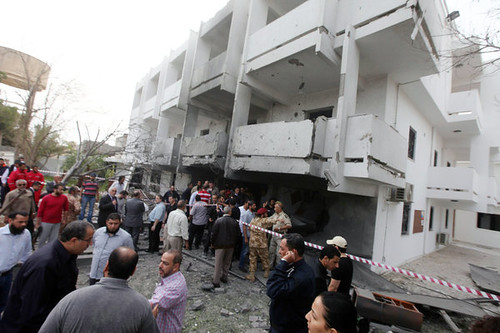 The French embassy in Tripoli, Libya was bombed on April 23, 2013. It was the first attack on the French embassy in the capital. by Pan-African News Wire File Photos