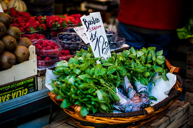 Basil and more in Venice at the canalside Rialto Market.