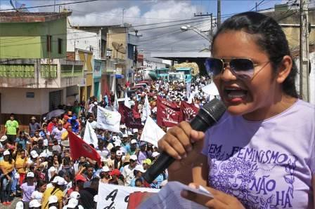 Jeane Carla convoca a juventude para luta pelos seus direitos durante a I Marcha da Juventude Camponesa da PB | Foto: AS-PTA