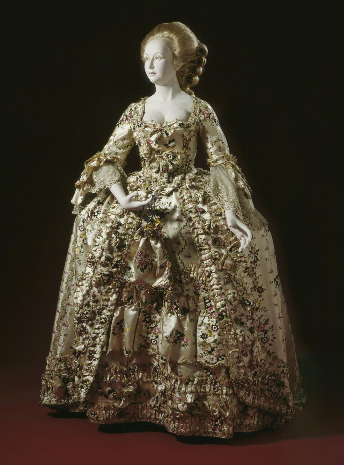 1750. British. Woman's Dress and Petticoat with Stomacher (Robe à l'anglaise). Brocaded silk satin. LACMA