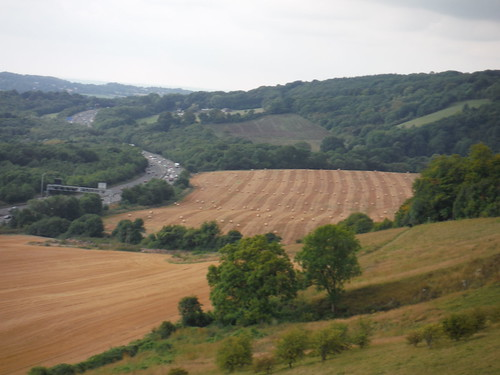 M25 and North Downs, from edge of Titsey Plantation
