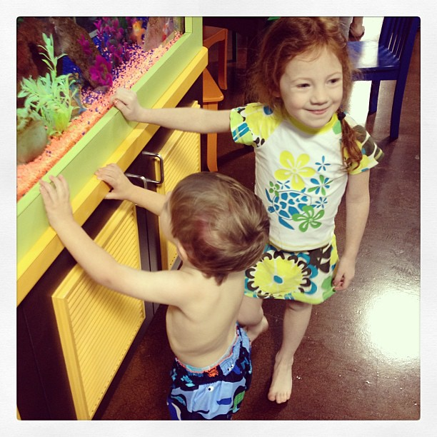 Waiting for their first swim lessons @goldfishswimschool !