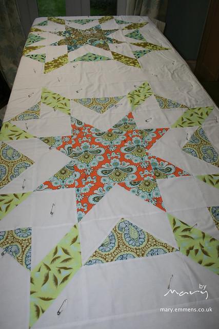 Basting Starburst quilt