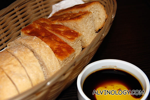 Fresh bread with olive oil and balsamic vinegar