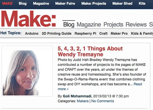Wendy Featured on the Make Blog by mikey and wendy