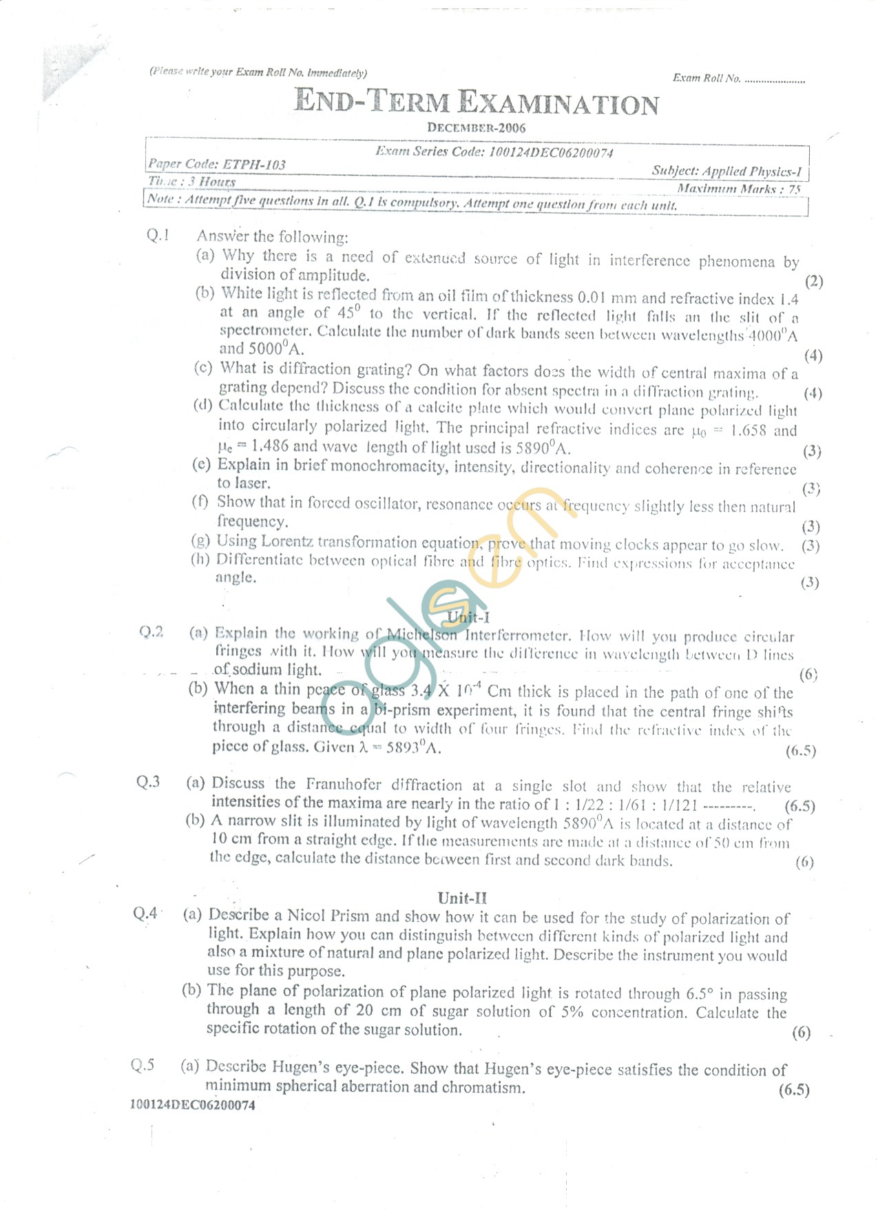 GGSIPU: Question Papers First Semester – end Term 2006 – ETPH-103