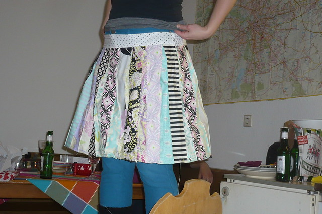 taking up the skirt ...