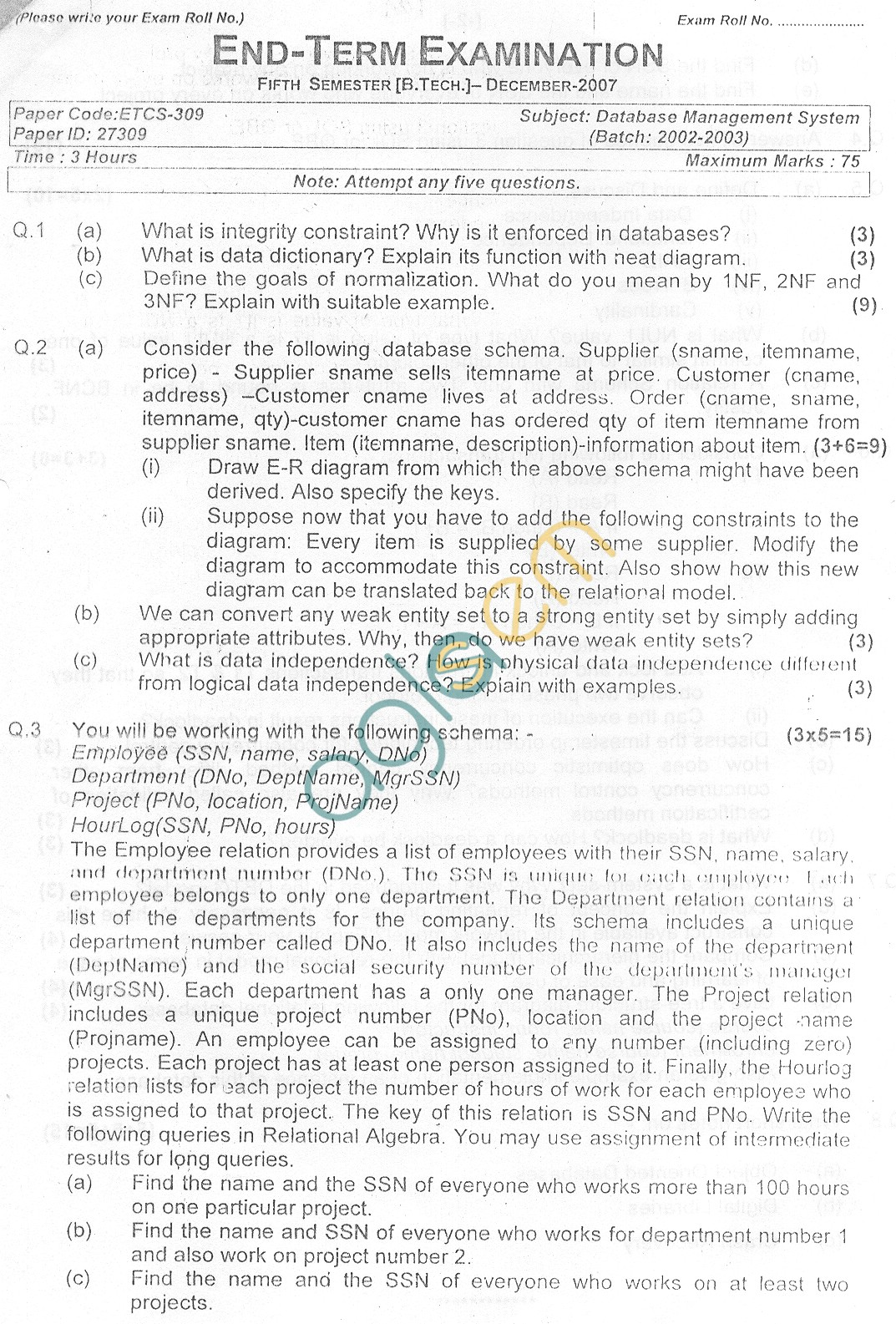 GGSIPU Question Papers Fifth Semester – end Term 2007 – ETCS-309