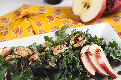 Kale Salad with Pomegranates, Apples and Walnuts #SundaySupper