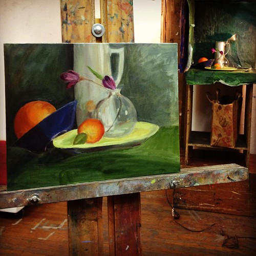 Wish I had 1 more hour with this one, but alas no more.  We're moving on to the figure next week #stilllife #oilpaint #painting #art