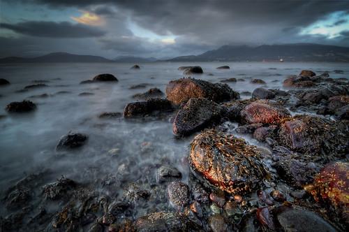 ocean longexposure blue light sunset sea sky canada mountains colour beach water clouds digital landscape sand nikon rocks exposure dusk britishcolumbia d7000