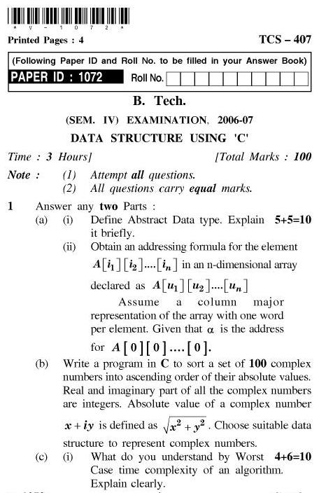 UPTU B.Tech Question Papers - TCS-407-Data Structure using 'C'