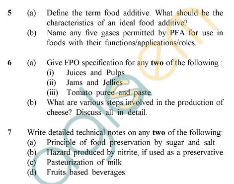 UPTU B.Tech Question Papers -AL-012 - Food Technology