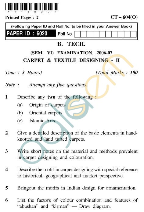 UPTU B.Tech Question Papers - CT-604(O) - Carpet & Textile Designing-II