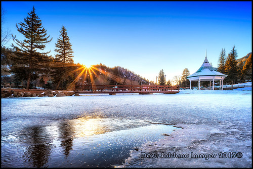 bridge trees snow detail reflection ice beautiful sunshine sunrise colorado warm angle wide gazebo evergreen rays greenmountainfalls mygearandme